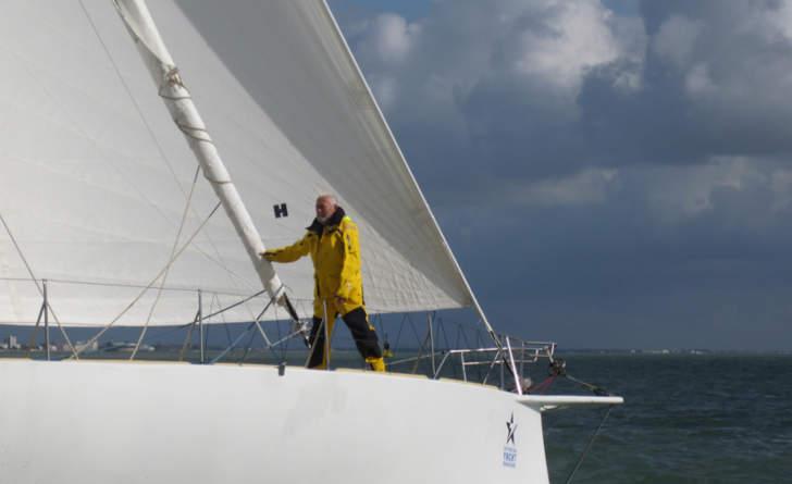 Sir Robin Knox-Johnston sailing in Route Du Rhum race