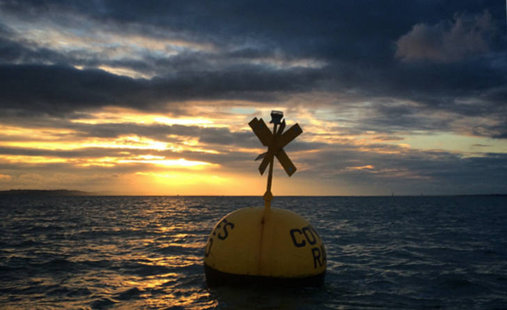 Chanel buoy Sunset on the Solent