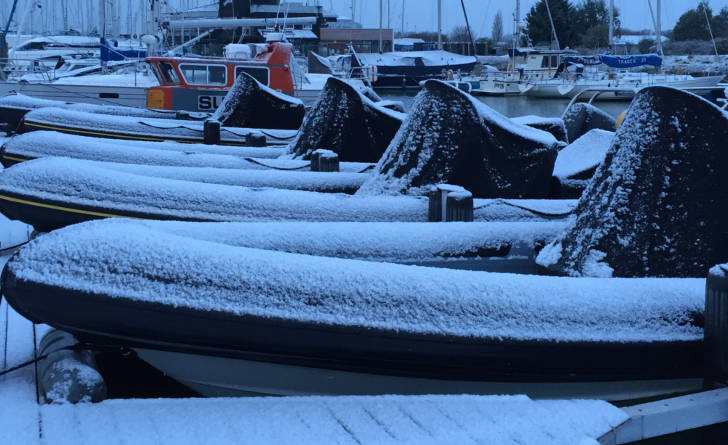 Rib boats in the snow