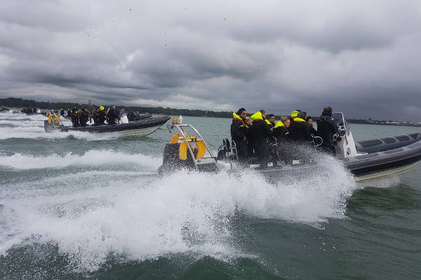 Corporate rib charter event on a stormy day